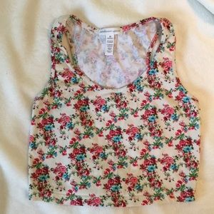 White floral cropped tank